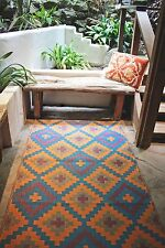 Fab Habitat Indoor Outdoor Patio Rug Mat Saman~ Blue & Orange, Choose Size