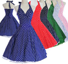 Vintage Dresses Dancing Party Rockabilly Swing Jive Spot Dot Polka 50s 60s Skirt