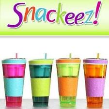 Snackeez Travel Cup Snack n drink In One Container Lid Straw Kids As Seen On TV