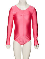 Girls Childs Ballet Dance Long Sleeve Ruched Shiny Lycra Leotard KDC009 By Katz