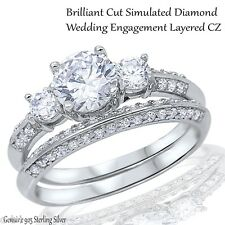 Engagement Wedding Brilliant Cut CZ Genuine Sterling Silver Ring Set Size 3 - 12