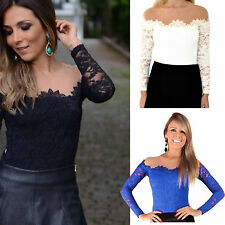 New Ladies Crochet Floral Lace Long Sleeves Mesh Collar Blouse Top Celeb Shirt