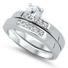 .925 Sterling Silver Cute Engagement Wedding Ring Set Round Clear CZ Sz 5-10