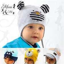 Cute Baby Boy Toddler Infant Spring  LaceUp Hat Cotton Infant Earflap  Stylish