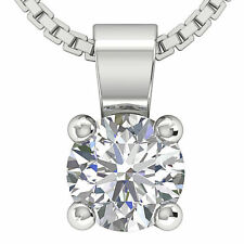 Solitaire Pendant Necklace Genuine 0.70 Ct Real Diamond Jewelry 14Kt White Gold