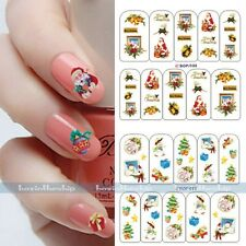 New Full Wraps Christmas Santa Water Transfer Nail Art Tips Sticker Decorations