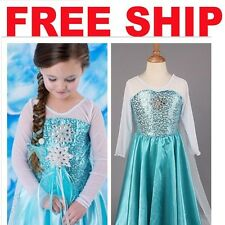 IN-STOCK Frozen Elsa Costume Disney Princess Girl Child Fancy Outfit Long Dress