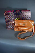 New Auth Tory Burch Dena Leather Foldover Messenger Bag Luggage Tan NWT