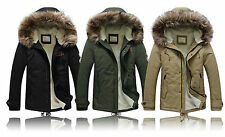 Men's boys Fur Long Winter Trench Coat Jacket warm Hooded Parka Overcoat outwear