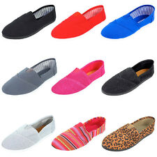Womens Canvas Slip On Shoes Classic Casual Flats Ladies Espadrille Ballet Loafer