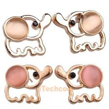 Fashion Korean Cute Opal Gold Plated Elephant Ear Studs Earrings 2 Colors #T1K