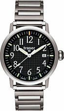 Traser Swiss H3 Watches 100315 Classic Basic Black Tritium MD Steel Strap T4102