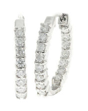 VS1/G  0.80Ct Natural Diamond White Gold Prong Set Unique Hoop Huggies Earrings