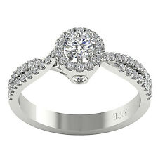 I1/G Solitaire Engagement Ring Band 0.90Ct Round Diamond Jewelry 14Kt White Gold