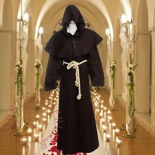 Friar Medieval Cowl Hooded Monk Renaissance Priest Robes Brown Costume Cosplay