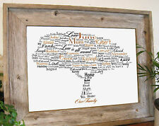 Personalised Family Name Tree on A4 Canvas Names Birth Dates Sayings Wording