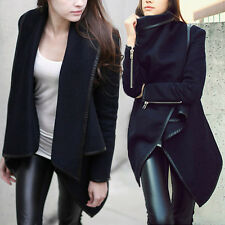 New Womens Ladies Woolen Winter Warm Zipper PU Edge Trench Coat Jacket Outwear