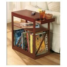 Magazine Side Table Slim End Accent Pull Out Shelf Storage Furniture Couch Small