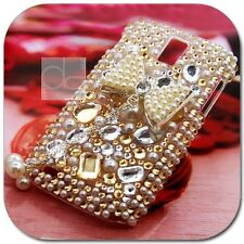 3D Gold Bow Ribbon Bling Rhinestone Crystal Gem Hard Skin Case Cover For Samsung