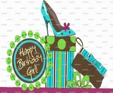 Happy Birthday Girl ~ Frosting Sheet Cake Topper ~ Edible Image ~ D1401