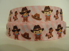Grosgrain Ribbon, Little Cowgirl with Horses, Cowboy Hats on Pink Striped 7/8""
