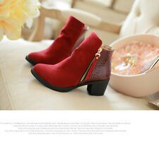 Fashion Womens Boots Winter Shoes High heels Ankle Cowboy Rider new Senior PU A