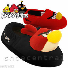 Kids Boys Angry Birds Slippers Character Pumps 3D Red Girl Slip On Elasticated