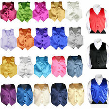 23 Color Pick Satin Vest Only Baby Boys Toddler Teen for Formal Tuxedo Suits S-7