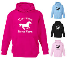 PERSONALISED HORSE RIDING DESIGNER GIRLS KIDS CHILDERNS HOODIE HOODY ALL SIZES