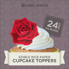 24 Edible Rose Flower Cup Cake Topper Decoration | Cupcake Toppers