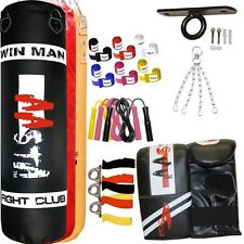 3ft Punch Bag Un-Filled Hanging Ceiling Hook Boxing Training Muay Thai Kick Set