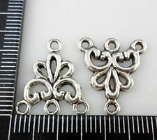 10/40/300pcs Antique Silver 1 To 3 holes Connectors Charms 17x19mm (Lead-free)