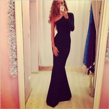 New Sexy Women One Shoulder Prom Ball Cocktail Party Dress Formal Evening Gown