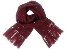 O ' Neill Knit Scarf Hot Dot Wine Red Cable Pattern Fringe