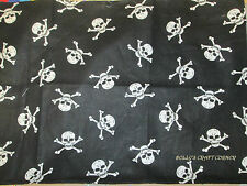 SKULL AND CROSSBONES FABRIC POLYCOTTON PIRATES, HALLOWEEN 1/2 OR FULL METRE