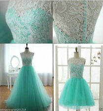 2014 Long /short Lace Tulle Evening Prom Bridesmaid Dress Formal  Gown 6 - 16