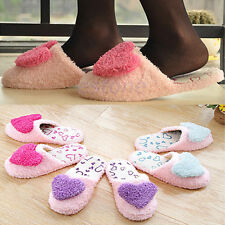Cute Women Girl's Velvet Anti-slip Heart Shape Slippers Coral Cotton Indoor Warm