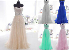 STOCK New Champagne Prom Dresses Long Evening Party Ball Formal Dress Size 6-16