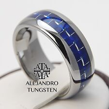 Tungsten Carbide Ring 8MM Amazing Blue Carbon Inlay Wedding Band - Size 6 to 14