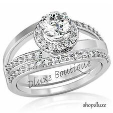 Women's Stainless Steel Halo Round Cut AAA CZ Wedding Ring Set Size 5,6,7,8,9,10