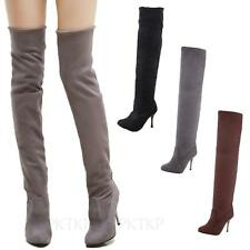 Winter Thigh Length Boots Ladies Pumps Womens High Heels Size 10 9 8 7 6 5 4