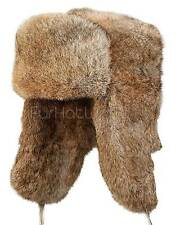 Rabbit Full Fur Russian Ushanka Hat - Brown -Brand: FRR