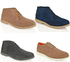 MENS BOYS CASUAL DESERT SUEDE LEATHER CHUKKA LACE UP SUMMER COMFORT BOOTS SIZE