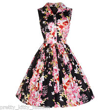 PRETTY KITTY ROCKABILLY FLORAL 50s VINTAGE BUTTON SHIRT SWING PROM DRESS 10-16