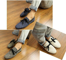 Mens Canvas Smart Casual Lace Slip On Loafer Moccasins Woven Driving Shoes