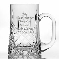 Personalised Lead Crystal 1 Pint Glass father of the bride  father of the groom