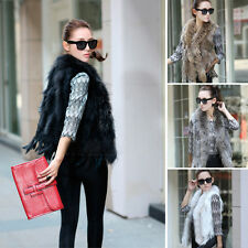 14 Colors Real Farm Knit Rabbit & Raccoon Fur Vest With Tassels Fashion Gilet