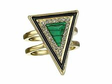 NEW HOUSE OF HARLOW 1960 NICOLE RICHIE TEEPEE GOLD GREEN TRIANGLE VINTAGE RING