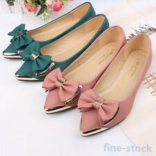 Women Metal Pointed Toe Shoes Bow Tie Ballerina Ballet Dolly Flat Low Heel Shoes