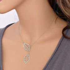 Fashion Elegant Lucky Golden/Silver Double Leaf Pendant Necklace Clavicle Chain